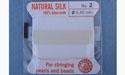 Natural Silk Bead Cord - White - No.2 Diameter - 2 Meters