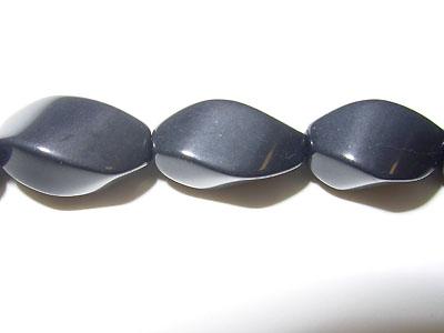 "8x14mm Twist Black Stone - 19"" Strand"