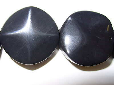 "20mm Round Wave Black Stone - 16"" Strand"