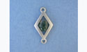Small Dbl. Ring Diamond Pendant - Lead Free Pewter