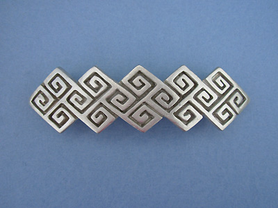 """Square Knot 3 Barrettes - Lead Free Pewter """""""