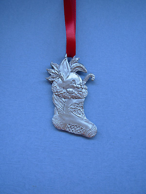 Bunny in Stocking Christmas Ornament - Lead Free Pewter