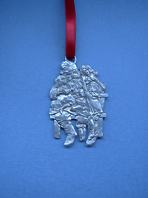 Santa/ Child Christmas Ornament - Lead Free Pewter