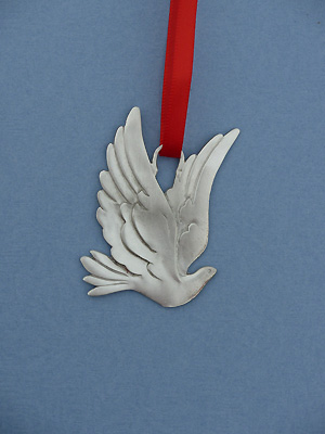 Large Dove Christmas Ornament - Lead Free Pewter