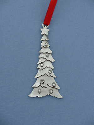 Large Christmas Tree Christmas Ornament - Lead Free Pewter