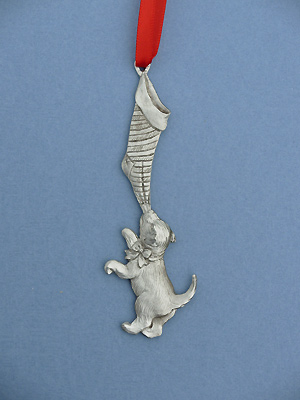 Large Dog w/ Stocking Christmas Ornament - Lead Free Pewter