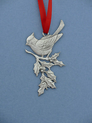 Large Cardinal Christmas Ornament - Lead Free Pewter