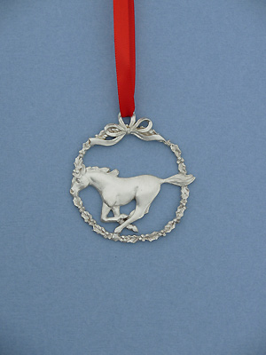 Horse /Wreath Christmas Ornament - Lead Free Pewter