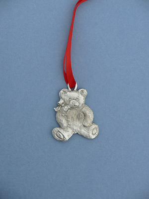 Fluffy Teddy Christmas Ornament - Lead Free Pewter