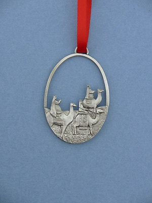 Three Wisemen Christmas Ornament - Lead Free Pewter