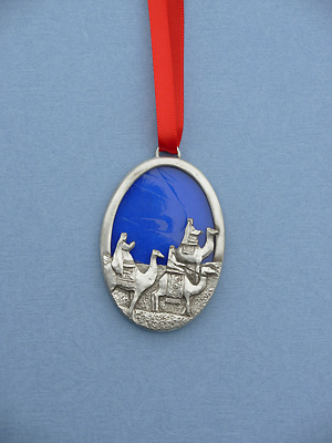 Three Wisemen Christmas Ornament w/ Stained Glass - Lead Free Pewter