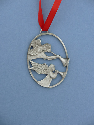 Two Angels w/ Horn Christmas Ornament - Lead Free Pewter