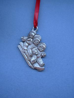 Three on Toboggan Christmas Ornament - Lead Free Pewter