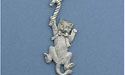 Cat w/ Candy Cane Christmas Ornament - Lead Free Pewter
