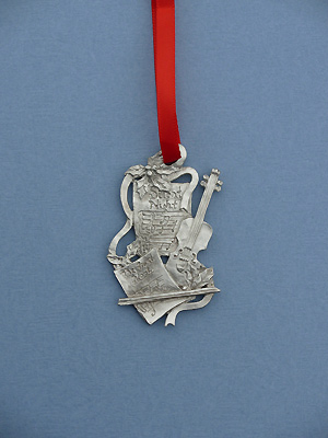 Silent Night Christmas Ornament - Lead Free Pewter