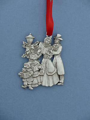 Carolling Group Christmas Ornament - Lead Free Pewter