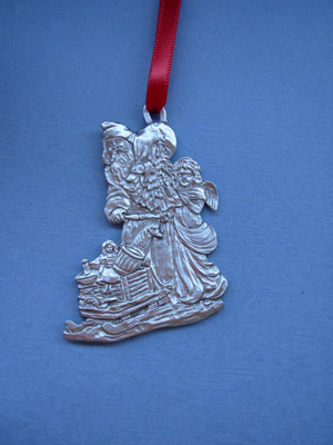 Victorian Santa w/ Child & Sleigh Ornament - Lead Free Pewter