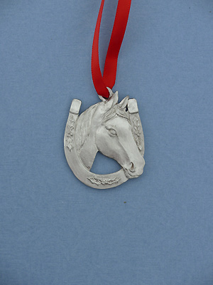 Horse /Horseshoe Christmas Ornament - Lead Free Pewter
