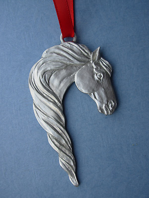 Horse /Mane Christmas Ornament - Lead Free Pewter