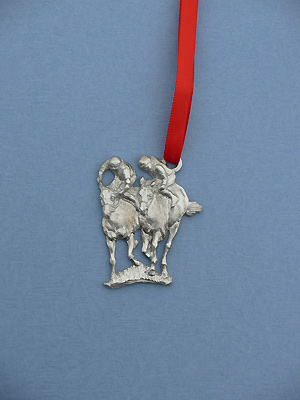 Double Jockey Christmas Ornament - Lead Free Pewter