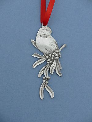 Chickadee Christmas Ornament - Lead Free Pewter