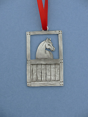 Horse & Stall Christmas Ornament - Lead Free Pewter