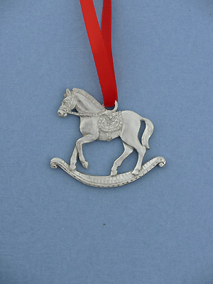 Rocking Horse Christmas Ornament - Lead Free Pewter