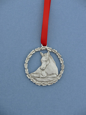 Foal in Wreath Christmas Ornament - Lead Free Pewter