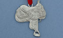 Western Saddle Christmas Ornament - Lead Free Pewter