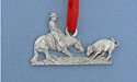 Cutting Horse Christmas Ornament - Lead Free Pewter