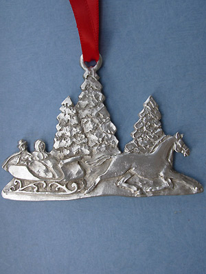 Horse & Sleigh Christmas Ornament - Lead Free Pewter
