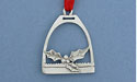 Holly in Stirrup Christmas Ornament - Lead Free Pewter