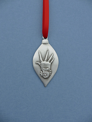 5th Day of Christmas Ornament - Lead Free Pewter