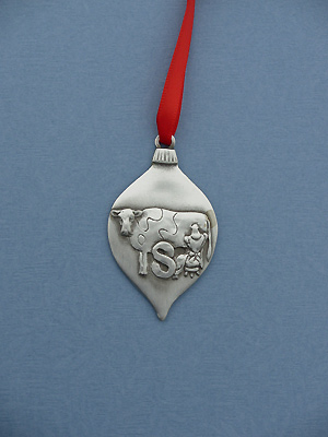 8th Day of Christmas Ornament - Lead Free Pewter