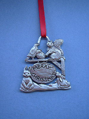 Merry X-mas Sign w/ Animals Christmas Ornament - Lead Free Pewter