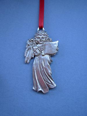 Angel w/ Sheet Music Christmas Ornament - Lead Free Pewter