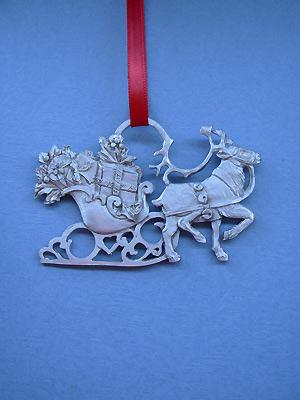 Reindeer w/ Sleigh Christmas Ornament - Lead Free Pewter