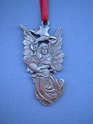Angel w/ Star Christmas Ornament - Lead Free Pewter