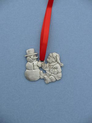 Snowman & Teddy Christmas Ornament - Lead Free Pewter