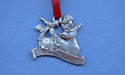 Reindeer Christmas Ornament - Lead Free Pewter