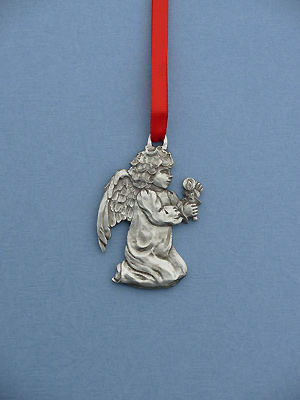 Angel w/ Candle Christmas Ornament - Lead Free Pewter