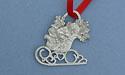 Christmas Sleigh Christmas Ornament - Lead Free Pewter