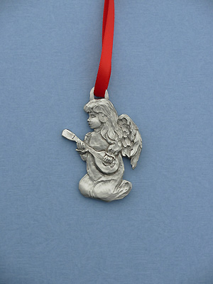 Angel w/ Guitar Christmas Ornament - Lead Free Pewter