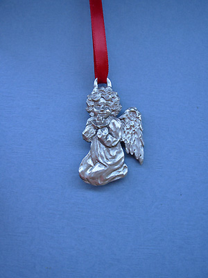 Young Angel Christmas Ornament - Lead Free Pewter
