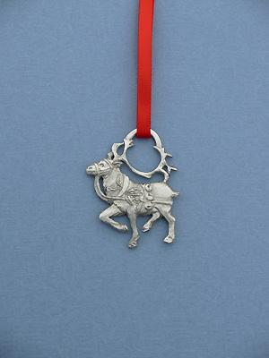 Prancing Reindeer Christmas Ornament - Lead Free Pewter