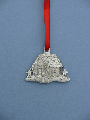 Gingerbread House Christmas Ornament - Lead Free Pewter
