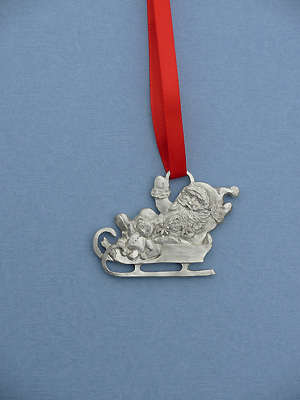 Santa in Sleigh Christmas Ornament - Lead Free Pewter