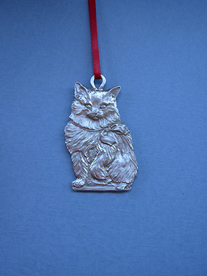 Cat Christmas Ornament - Lead Free Pewter