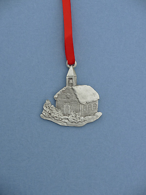 Church Christmas Ornament - Lead Free Pewter