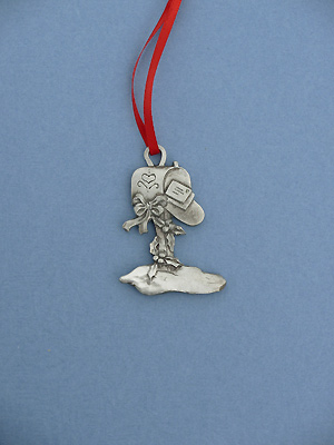 Mailbox Christmas Ornament - Lead Free Pewter